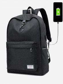 حقيبة ظهر بتفاصيل معدنية مع فلاشة للشحن - أسود
