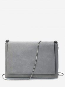 حقيبة كروسبودي ذات لون صلب مع سلسلة - رمادي