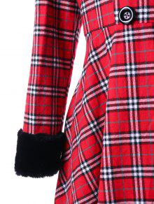 66e8802378b 2019 Plus Size Double Breasted Plaid Swing Coat In RED 2XL