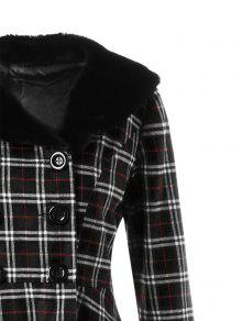 6d002109631 38% OFF  2019 Plus Size Double Breasted Plaid Swing Coat In BLACK ...