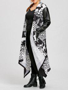 زائد الحجم بو إدراج عيد الميلاد طباعة معطف ماكسي - أبيض وأسود 5xl