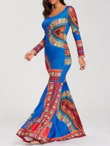 الطابق طول كم طويل البوهيمي فستان حورية البحر - أزرق Xl