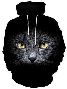 3d القط الوجه طباعة الكنغر جيب هوديي - أسود 2xl