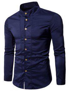 عارضة الوقوف طوق قميص كم طويل - الأرجواني الأزرق Xl