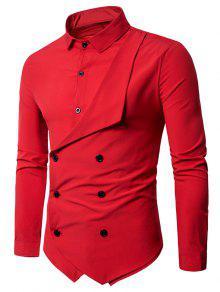 مزدوجة الصدر طويلة الأكمام قميص الطبقات - أحمر M
