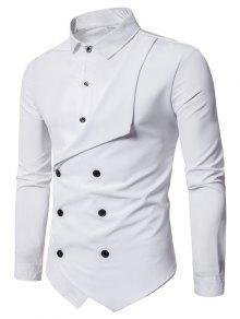 مزدوجة الصدر طويلة الأكمام قميص الطبقات - أبيض Xl