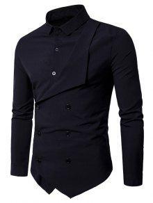 مزدوجة الصدر طويلة الأكمام قميص الطبقات - أسود L