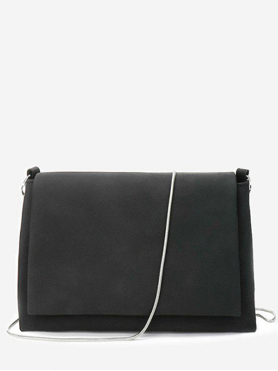 online Solid Chain Flap Crossbody Bag - BLACK