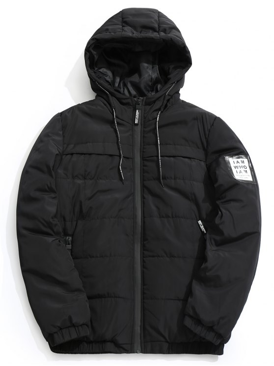 ladies Hooded Quilted Jacket - BLACK XL