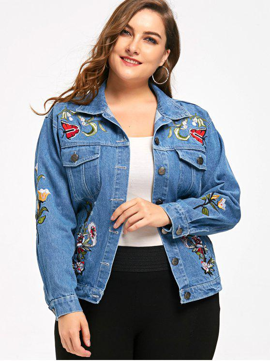 latest Embroidery Plus Size Denim Jacket - DENIM BLUE XL