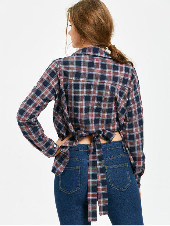 buy Tie Back Batwing Sleeve Plaid Shirt - COLORMIX ONE SIZE