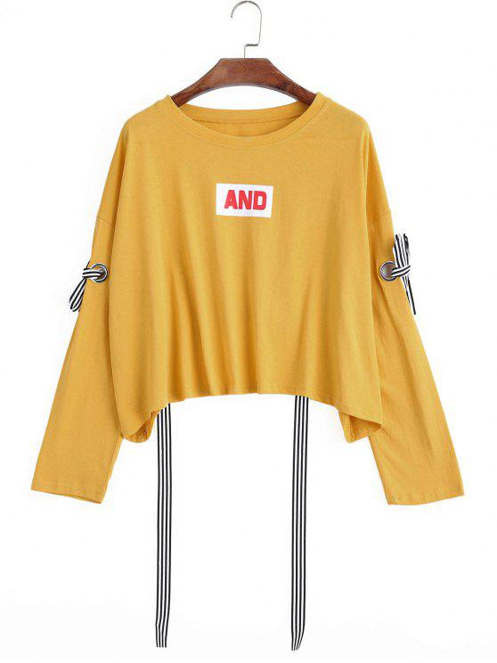 buy Oversized Bow Tied Cut Out Sweatshirt - MUSTARD ONE SIZE