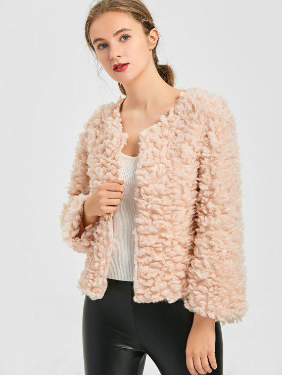 affordable Fuzzy Jacket - PINK ONE SIZE
