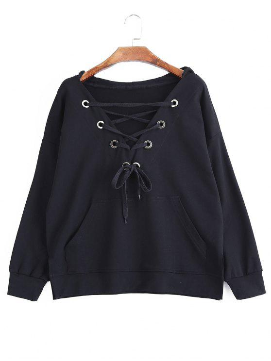 fashion Pocket Oversized Lace Up Hoodie - BLACK L