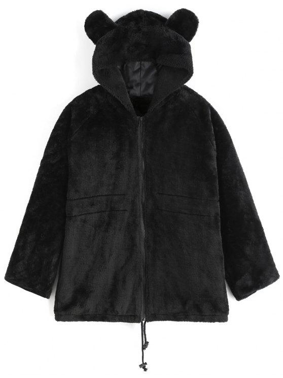 women Hooded Faux Fur Coat - BLACK L