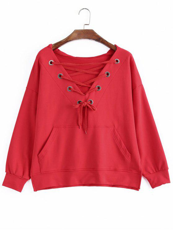 hot Pocket Oversized Lace Up Hoodie - RED S