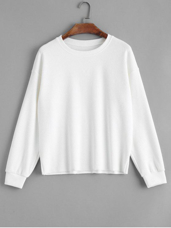 outfits Loose Knitted Ribbed Sweatshirt - WHITE ONE SIZE