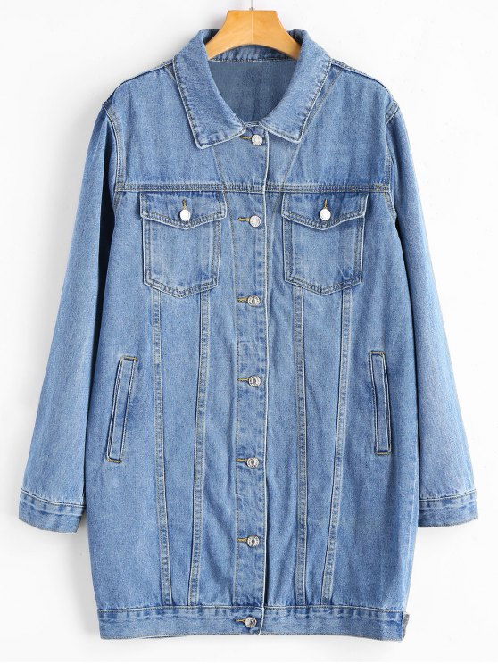 shop Buttoned Tads Hem Button Up Denim Coat - DENIM BLUE M