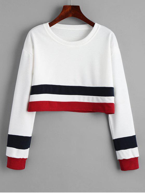 fancy Cropped Striped Drop Shoulder Sweatshirt - WHITE S