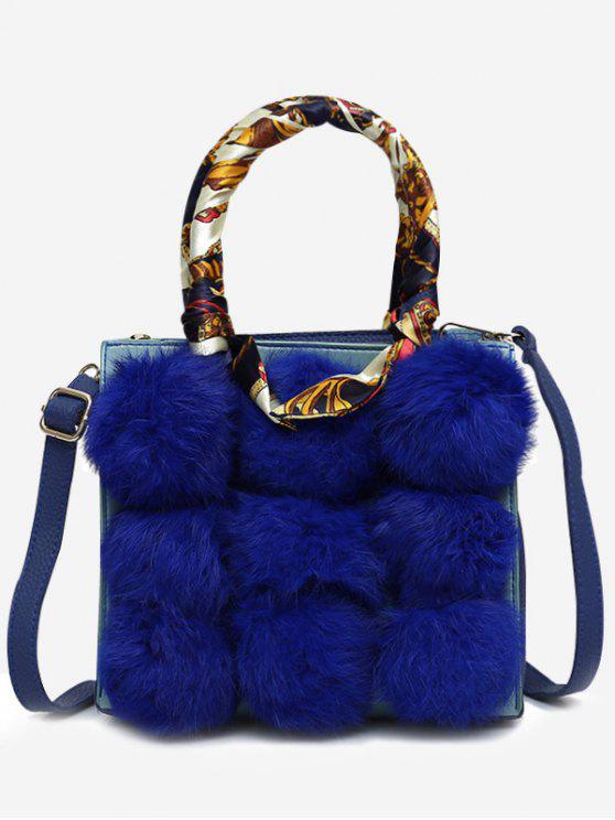 Women S Scarf Pompoms Handbag With Strap Blue