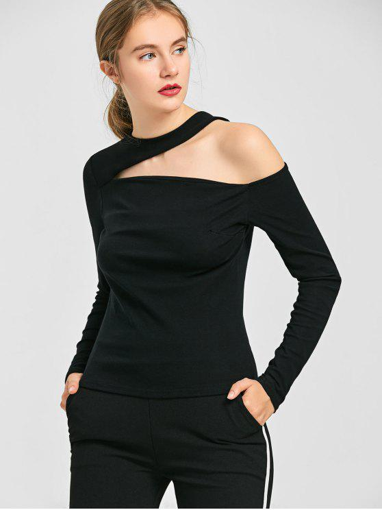 ladies Long Sleeve Cutout Top - BLACK M