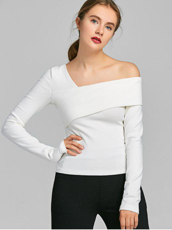 outfits Skew Collar Long Sleeve Top - WHITE M