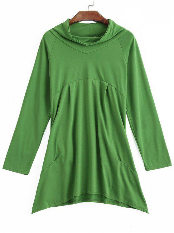 fancy Asymmetrical Mock Neck Sweatshirt - GREEN S