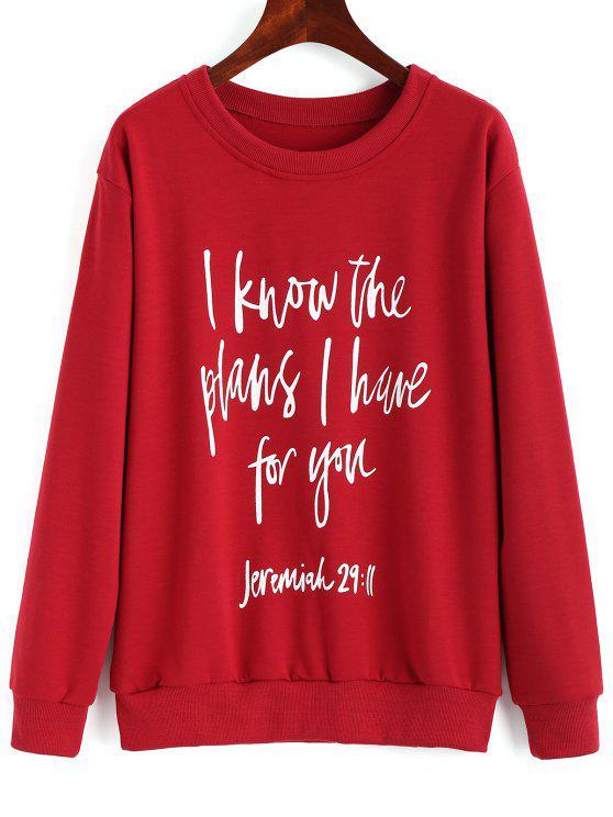 women's Drop Shoulder Letter Print Pullover Sweatshirt - RED M