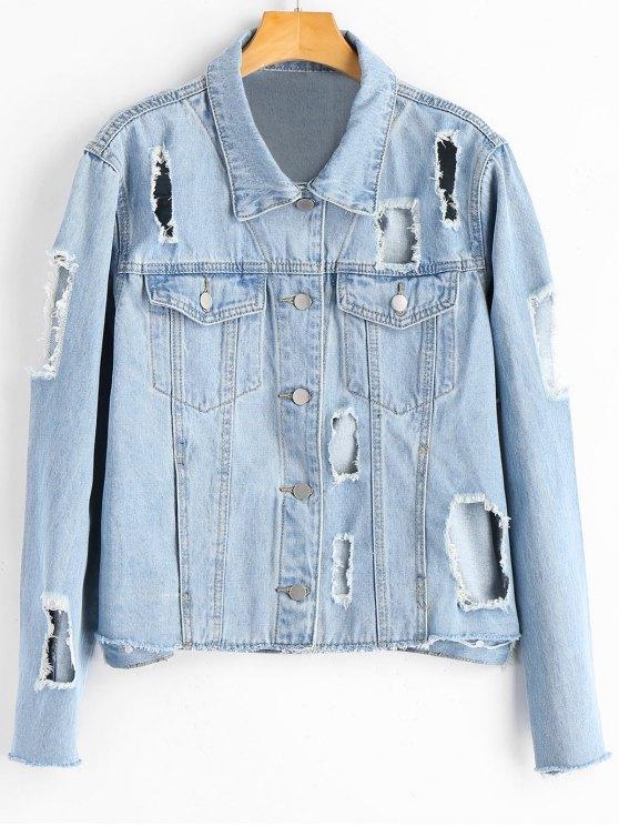 best Button Up Destroyed Frayed Denim Jacket - DENIM BLUE M