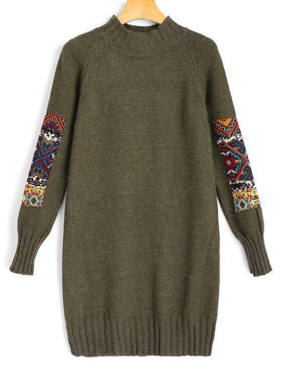 فستان مصغر سويت بقماش الجاكر طويلة الأكمام - الجيش الأخضر حجم واحد