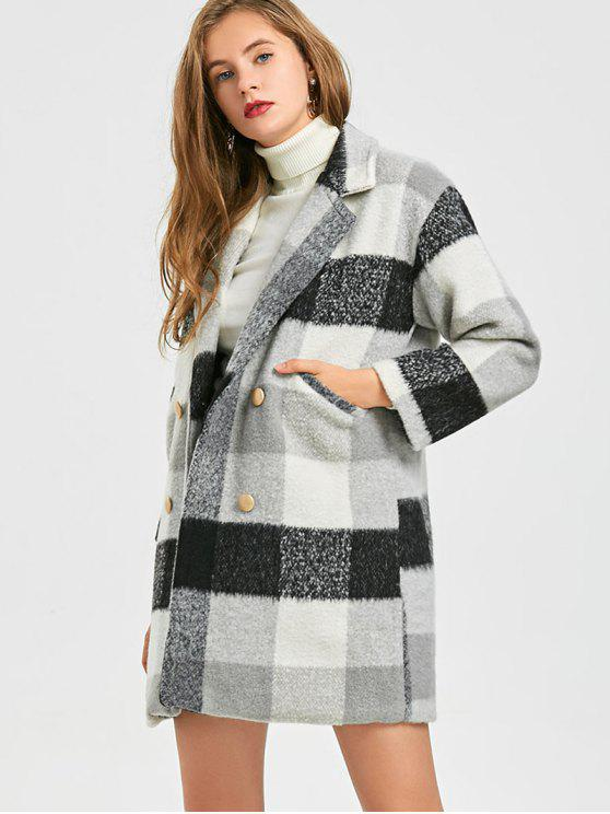 ladies Checked Wool Blend Peacoat - COLORMIX S