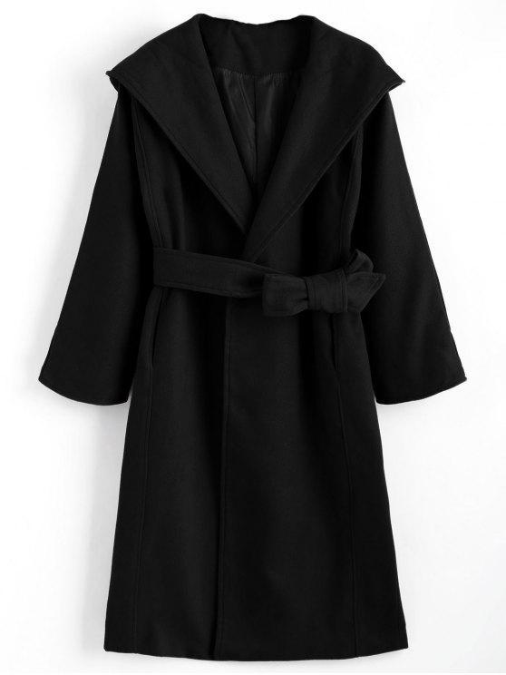Abrigo con capucha con cinturón y bolsillos - Negro XL