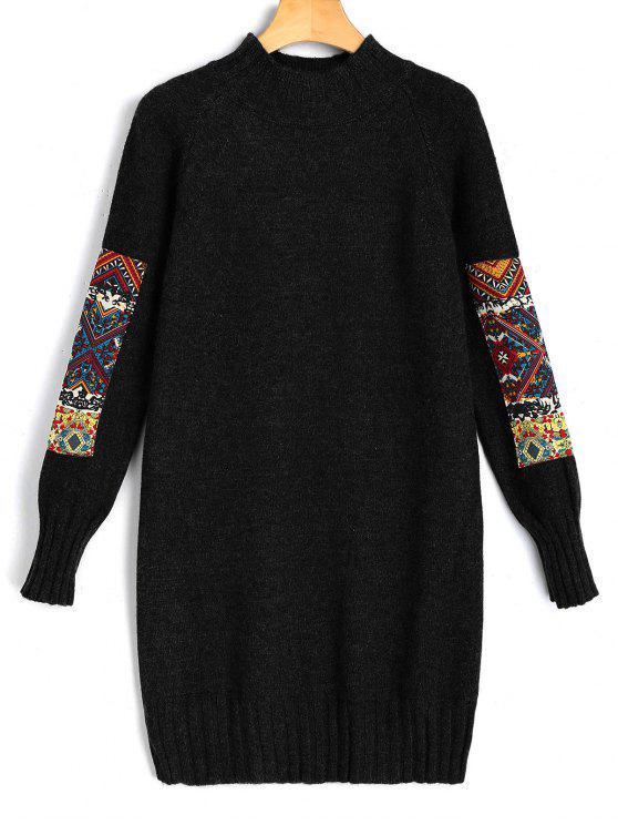 فستان مصغر سويت بقماش الجاكر طويلة الأكمام - أسود مقاس واحد