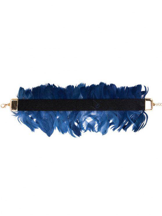 Collana del Choker del velluto dell'annata della piuma - Blu