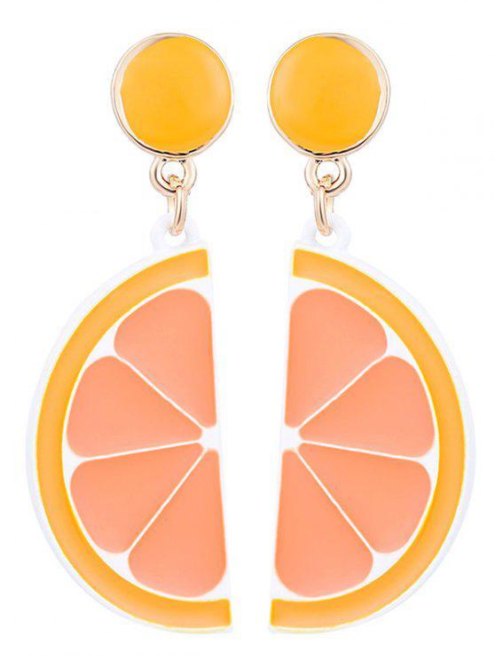 buy Cute Fruit Lemon Round Earrings - ORANGE