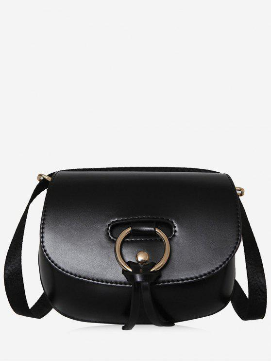 3321b5b90f 24% OFF  2019 Ring Faux Leather Rivet Crossbody Bag In BLACK