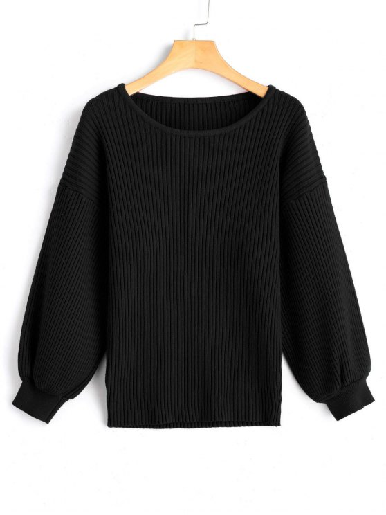 chic Drop Shoulder Ribbed Pullover Sweater - BLACK ONE SIZE