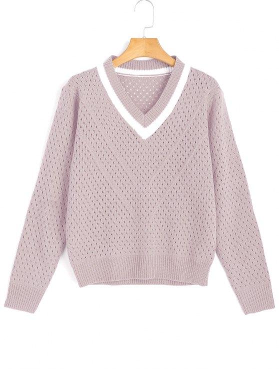 Sheer Kontrastierender Pullover mit V Ausschnitt