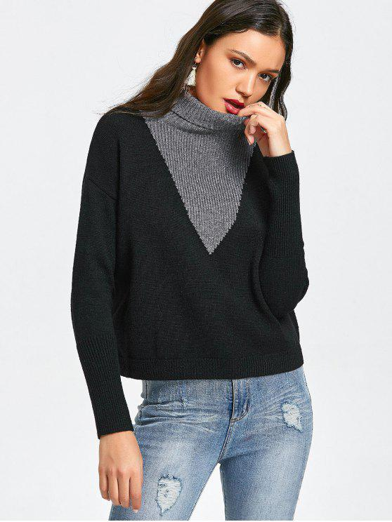 affordable Pullover Two Tone Turtleneck Sweater - BLACK AND GREY ONE SIZE
