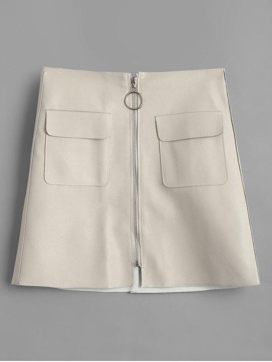shop Pocket Faux Leather Zipper Skirt - APRICOT M