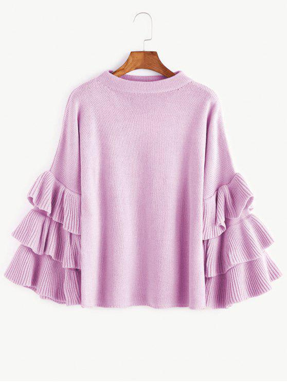 affordable Flouncy Layered Sleeve Pullover Sweater - LIGHT PURPLE ONE SIZE