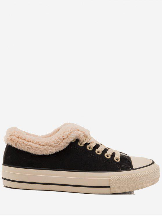 حذاء سكيت بكعب منخفض من الفرو المزيف - أسود 39