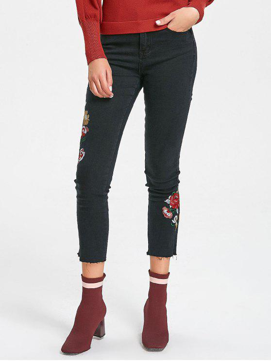 shop Frayed Hem Floral Embroidered Narrow Feet Jeans - BLACK M