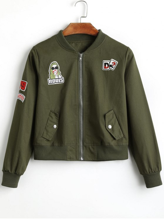 b49b3f1e74557 31% OFF  2019 Badge Patched Zip Up Bomber Jacket In ARMY GREEN