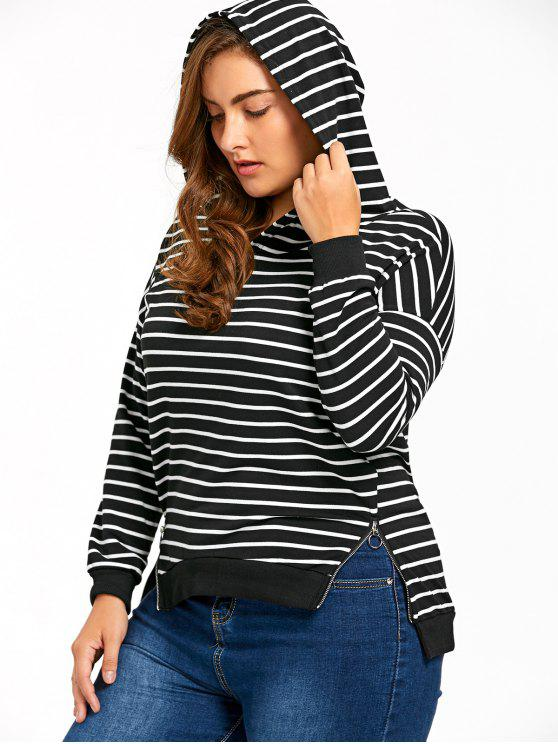 women Plus Size Zip Sides Striped Hoodie - BLUE STRIPE 4XL