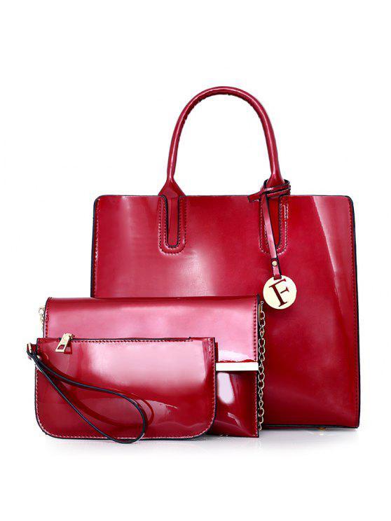 طقم حقيبة كروسبودي من ثلاث قطع - أحمر