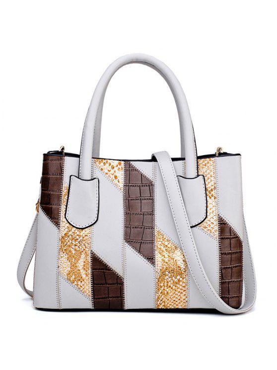 اللون كتلة هندسية فو الجلود حقيبة يد - رمادي