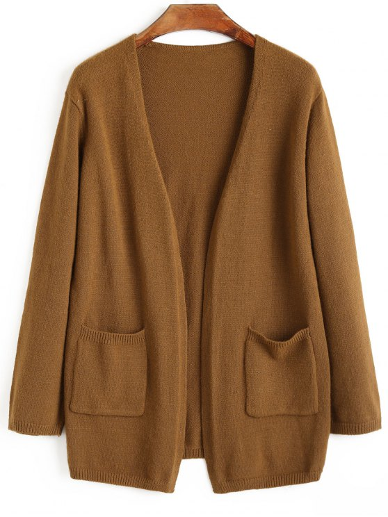 outfits Open Front Pockets Cardigan - CAMEL ONE SIZE