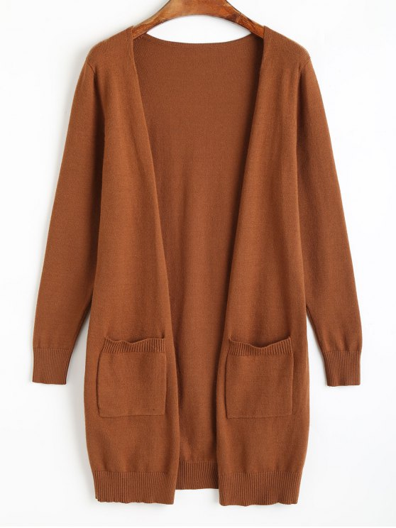 trendy Knit Open Front Cradigan with Pockets - LIGHT BROWN ONE SIZE