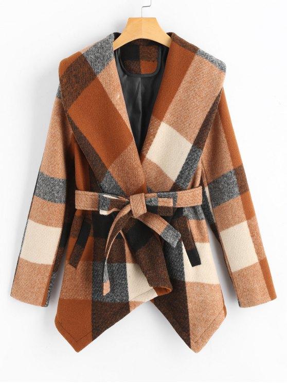 ladies Belted Wool Blend Plaid Coat - CHECKED M